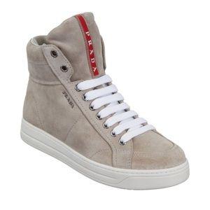 Prada Grey Suede Hidden Wedge High Top Sneakers